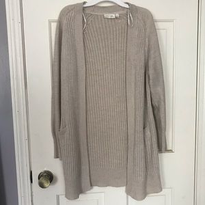 Long beige cardigan with elbow pads